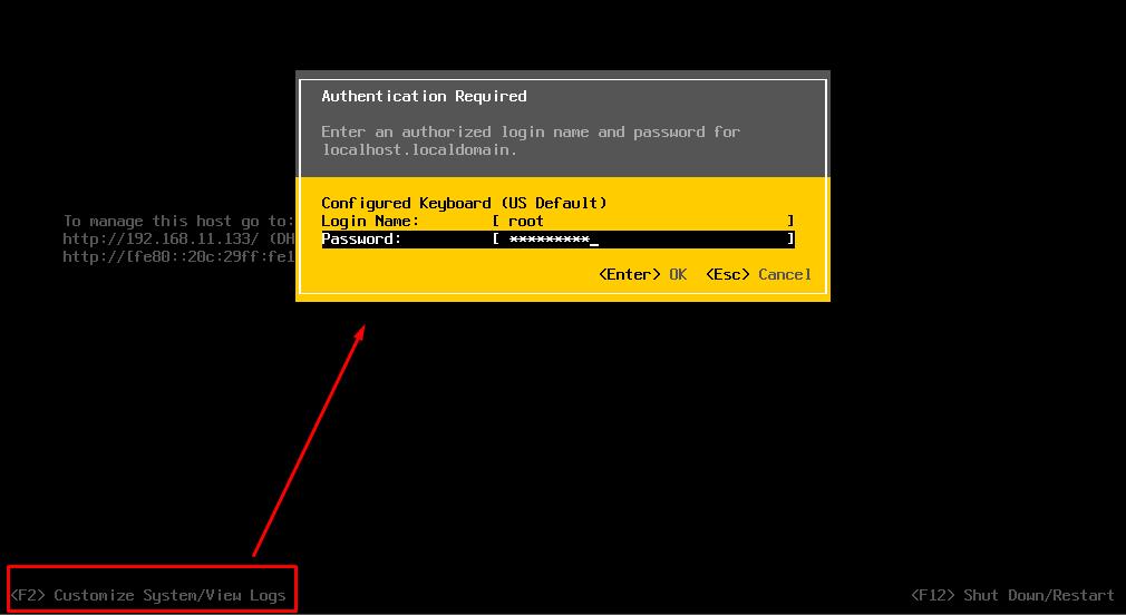 f2 вход в DCUI VMware vSphere Hyperviso