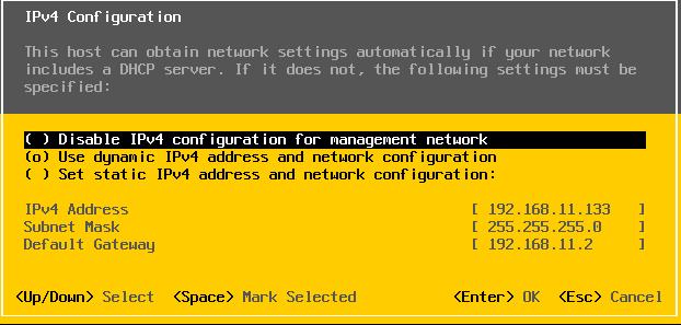 настройка ip адреса на сервере esxi