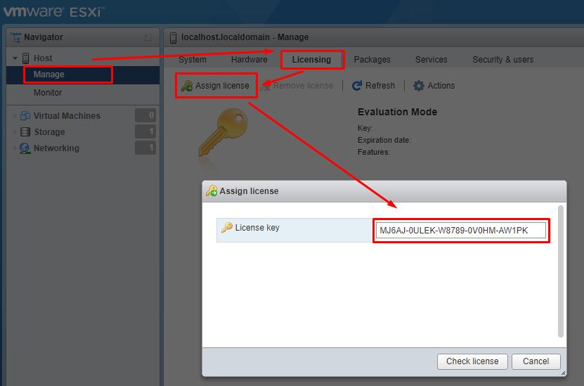 назначить бесплатную лицензию в vmware hypervisor