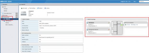 vSwitch0 - стандартный коммутатор в VMware vSphere Hypervisor