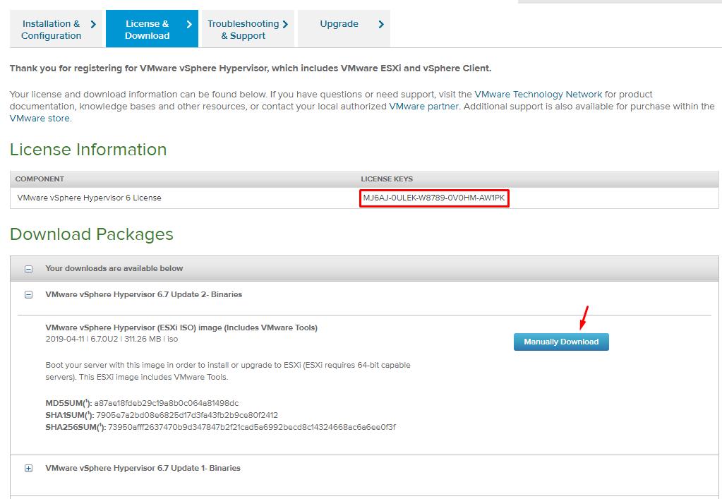 бесплатный ключ для VMware vSphere Hyperviso